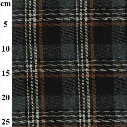 Poly Wool Check -  Grey with Black Square