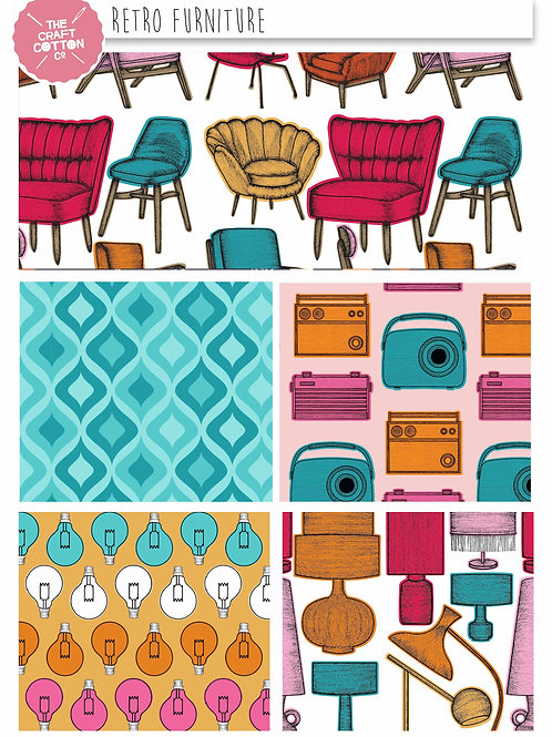 FAT QUARTER PACK - RETRO FURNITURE