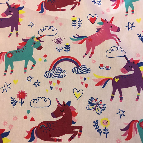 Cotton - Unicorns & Rainbows on pink background