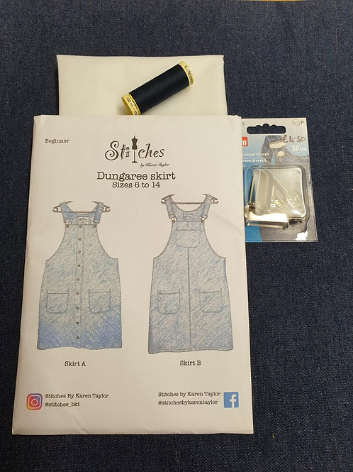 Make a Dungaree Skirt Kit - Pattern by Karen Taylor of Stitches