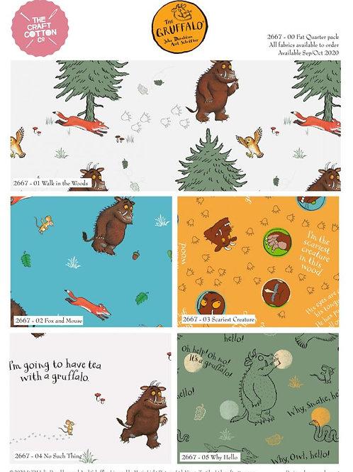 Gruffalo - Walk in the Woods - Fat Quarter Pack - 5 FQ's