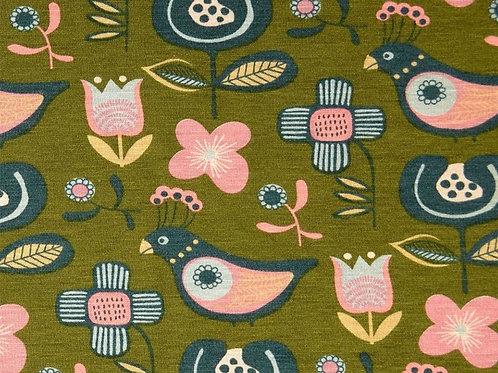 Birds Flowers Alpine Fleece - Green