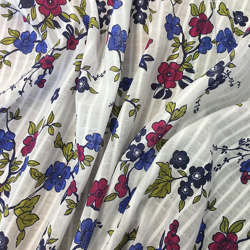 White Floral Cotton with subtle self stripe - Dressmaker Deal