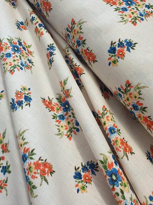 Linen/Cotton Mix  - Vintage Floral