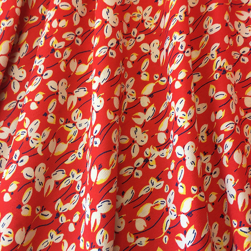 Viscose - Pretty flowers on a bright red background