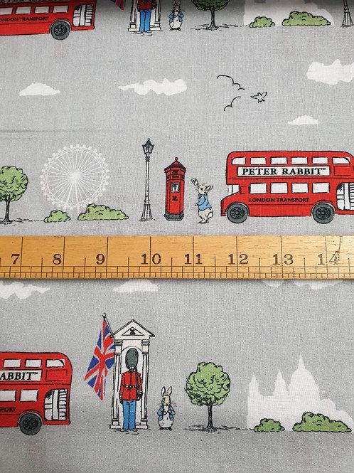 100% Cotton - Peter Rabbit - London Bus - Grey Background
