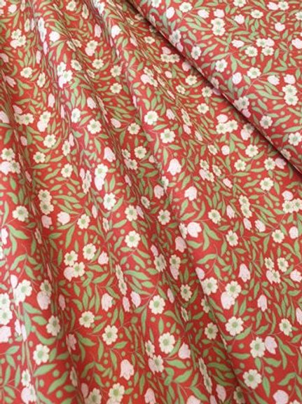 Cotton Lawn red with white flowers