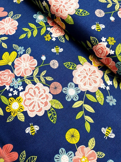 Blue Cotton with bees and pretty flowers