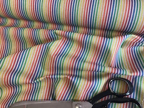 Multicolour Stripes - Cotton Linen Craft Canvas