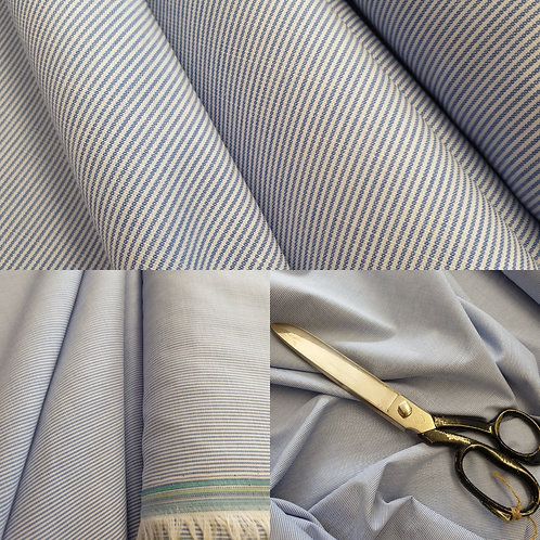 Light Blue Stripe Shirting - 100% Cotton