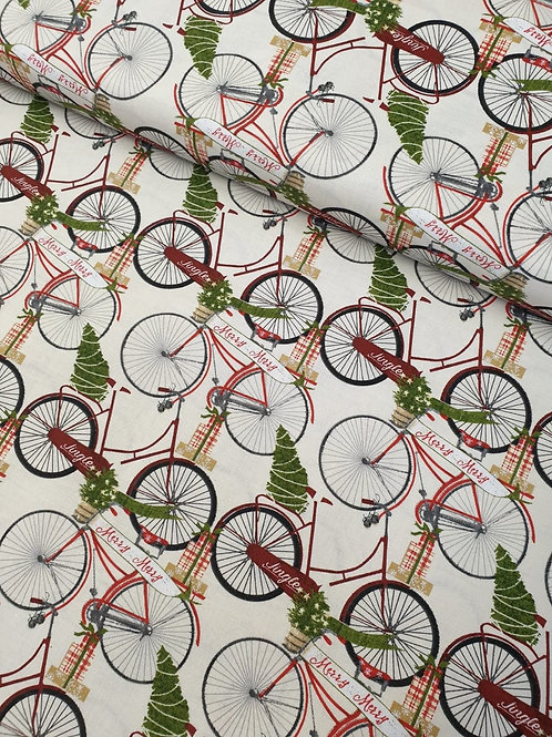 100% Christmas Cotton by  Beth Albert - Jingle all the Way Bicycles