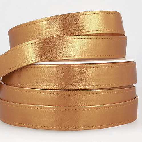 Webbing: Faux Leather: 25mm - Gold