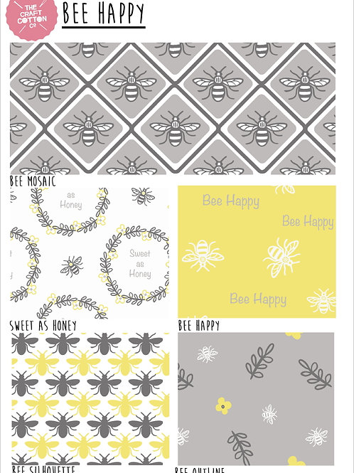 FAT QUARTER PACK - BEE HAPPY