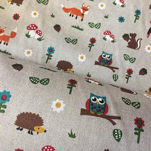 Woodland Creatures - Cotton Linen Craft Canvas