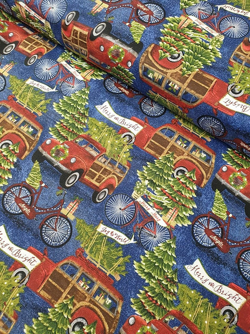 100% Christmas Cotton by Beth Albert - Jingle all the Way Trees