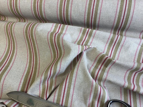 Wide Green & Thin Red Stripe - Cotton Linen Craft Canvas