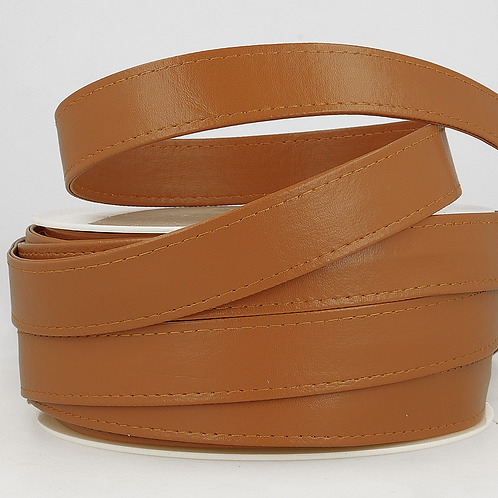Webbing: Faux Leather: 25mm - Camel
