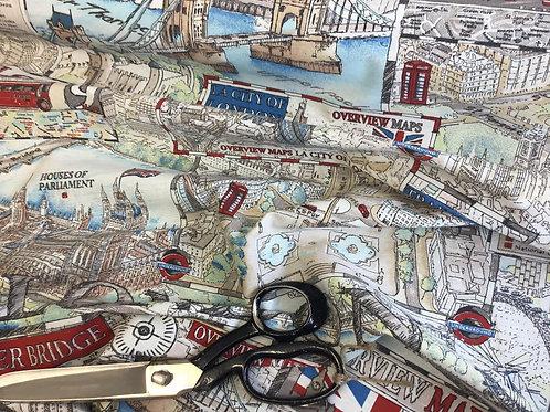 London Print - Cotton Linen Craft Canvas