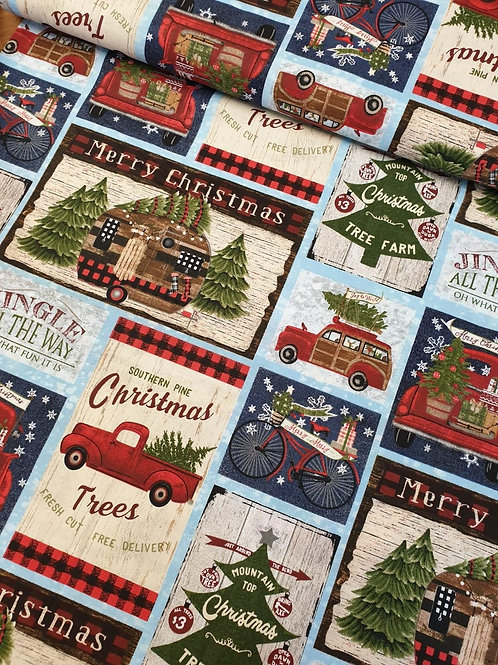 100% Cotton Christmas Fabric by Beth Albert - Jingle all the Way Stamps