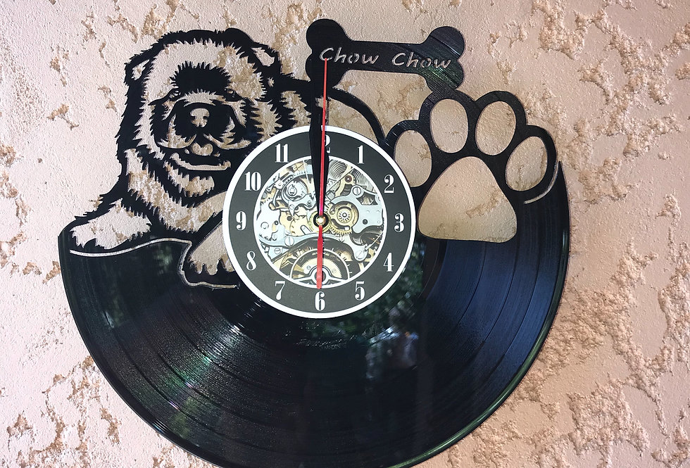 Horloge Vinyle Chiot Chow Chow