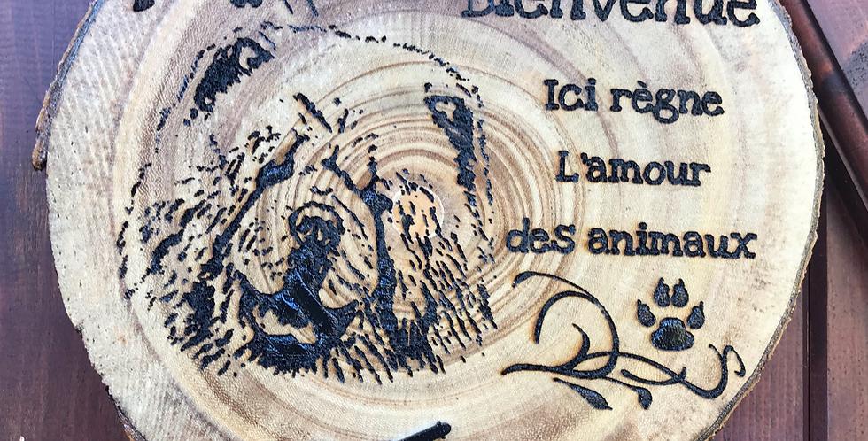Plaque Bienvenue bois avec écorce