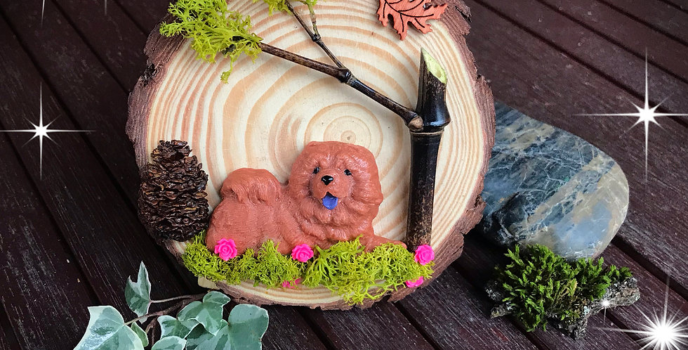 Rondin Bois décoratif Chow Chow Fauve