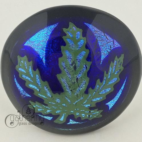 Scott Deppe - Blue Dichro Leaf Belt Buckle