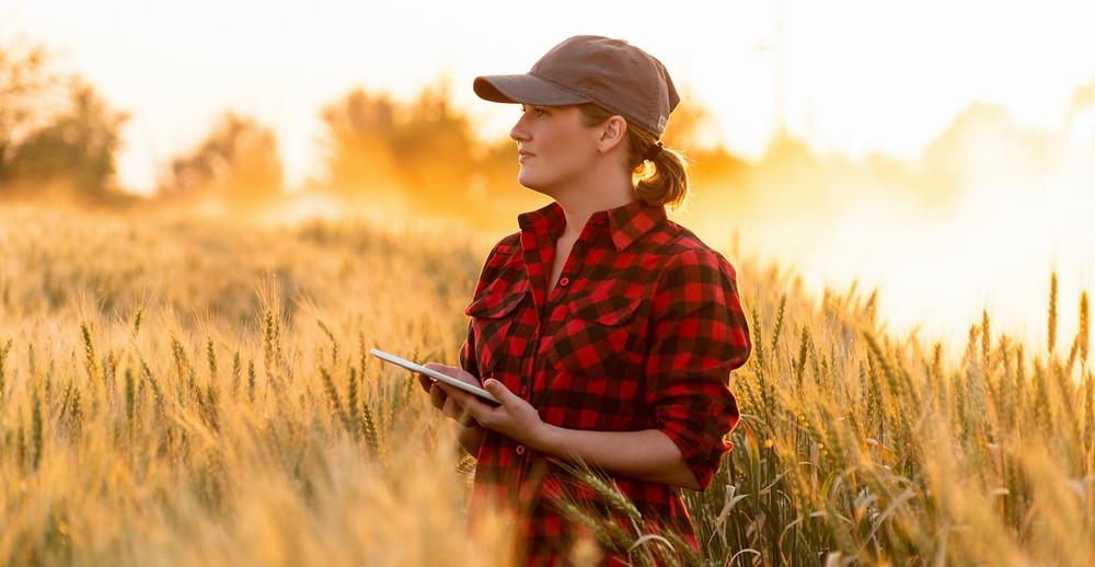 Female farmer with ipad