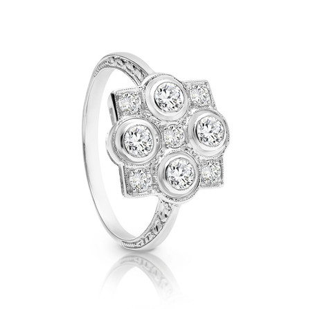 Art Deco Platinum Diamond set ring.  Please contact us to enquire about this bespoke piece.