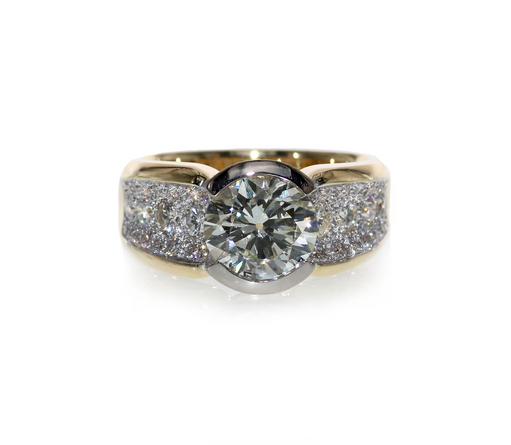 Diamond set ring in 18ct gold, Diamond Pavé set shoulders.  Please contact us to enquire about this bespoke piece.