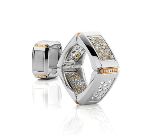 'Bling or No Bling' gents Diamond set ring in 14ct white gold and 18ct rose gold. Winner from Harpers Bazaar 2011 Gents category.   Please contact us to enquire about this bespoke piece.