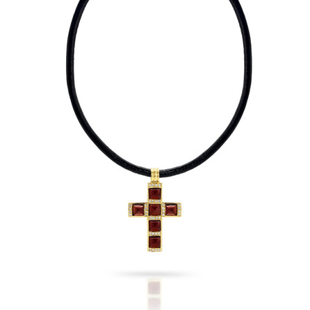 Buff top Rhodolite Garnet and Diamond set cross in 18ct yellow gold.  Please contact us to enquire about this bespoke piece.