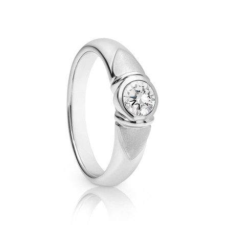 0.36ct round brilliant cut Diamond bezel set solitare ring in 18ct white gold.  Please contact us to enquire about this bespoke piece.