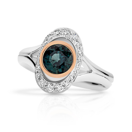 Sapphire Green Blue with Diamonds ring