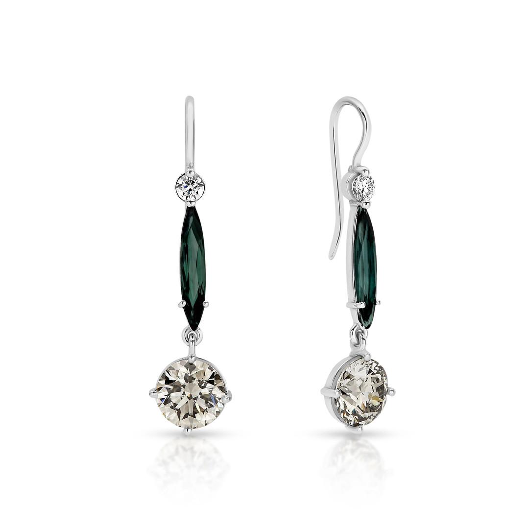Tourmaline and Diamond hanging earrings