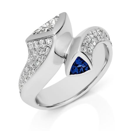 Diamond and Sapphire set ring