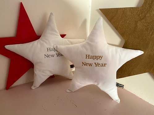 Coussin étoile Happy New Year Argent
