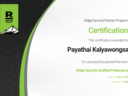 Bangkok System Group team Got Ridge Security Certified Professional.