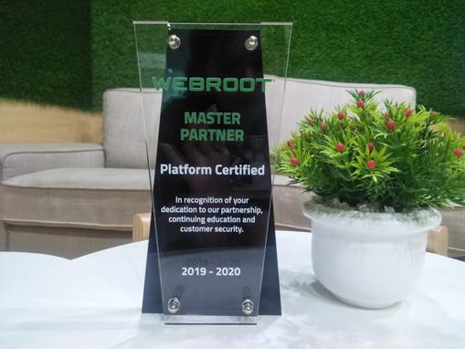 "We got "" WEBROOT MASTER PARTNER"" platform Certified"