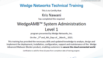 Bangkok System Group team receives 6 more certificate from Wedge Netwoks for APT Solution at System