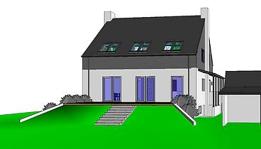 Illustration - Ombygning med ny tagetage, tilbygning og terrasser - husarkitekten