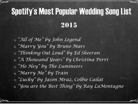 Spotify's Top Wedding Songs 2015