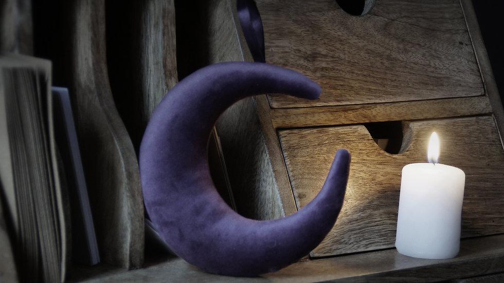 Suspension Lune Velours violet