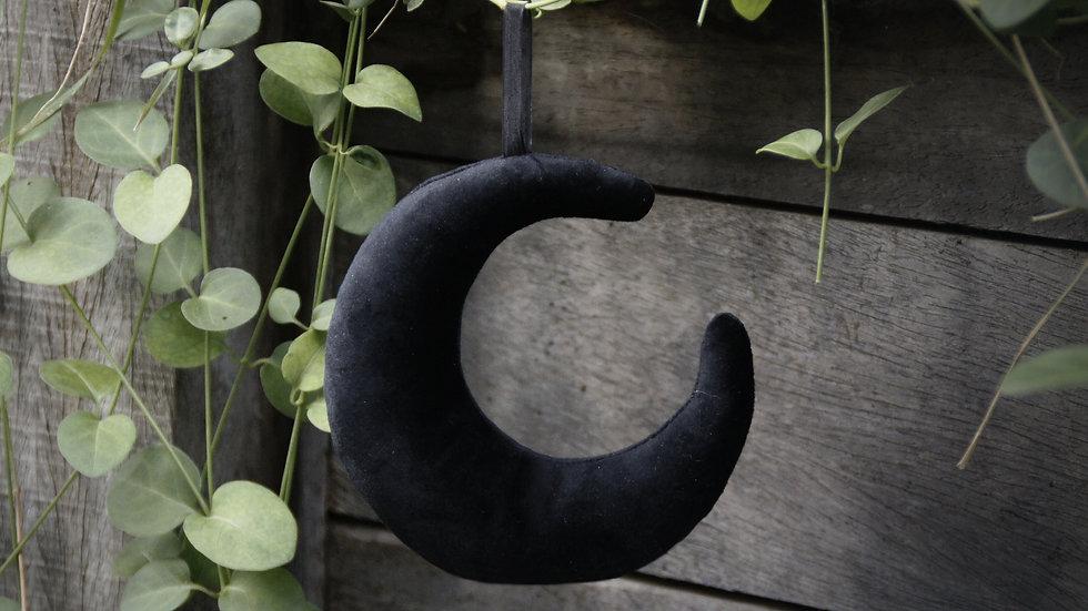 Suspension Lune Velours Noir