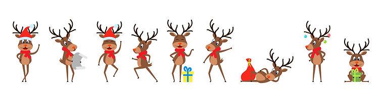 Set Funny Deers, Christmas Reindeers, Ch