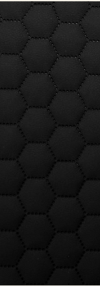 Quilted Faux Leather Fabric - Hexagon embossed - Black