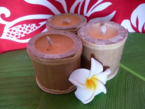 Lot de 3 bougies attachées en bambou