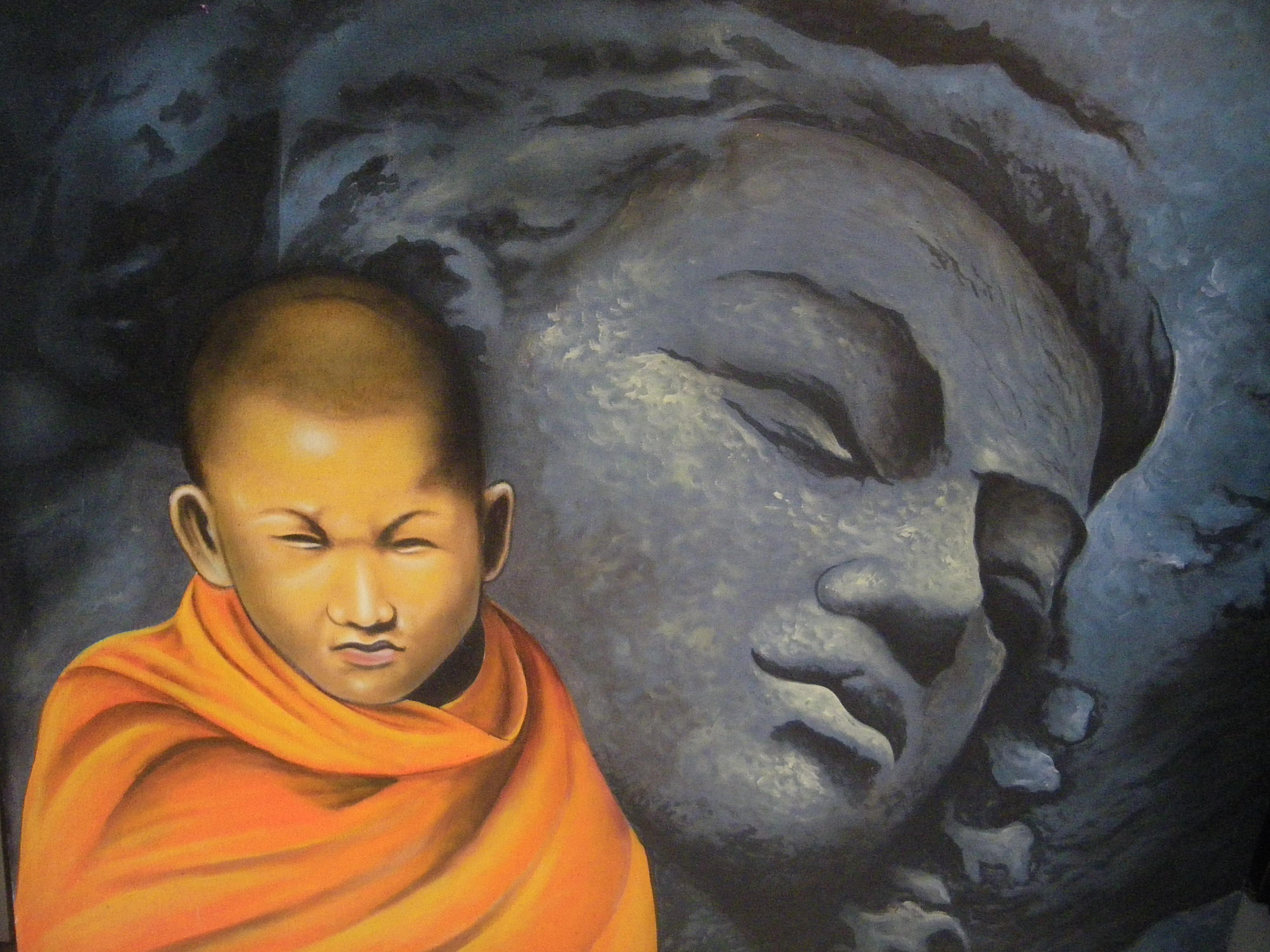 Tableau moine bouddhiste
