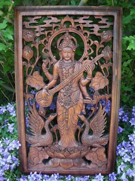 Sculpture Dewi Sarasvati - Déesse Indienne