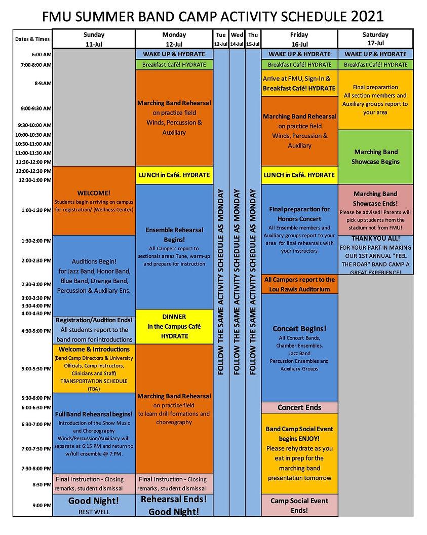 FMU Summer Band Camp Activity Schedule 2